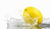 Lemon with splashing water