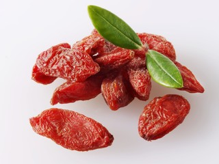 Dried goji berries, wolfberries with leaves
