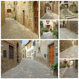 collage with old narrow stone  streets in Tuscany, Italy, Europe