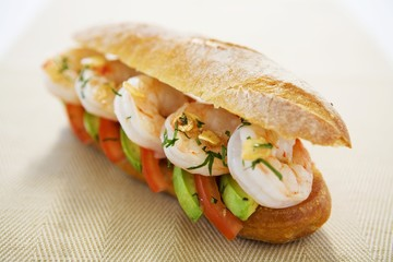 Prawn, avocado and tomato sandwich