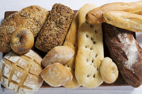 Various types of bread and bread rolls
