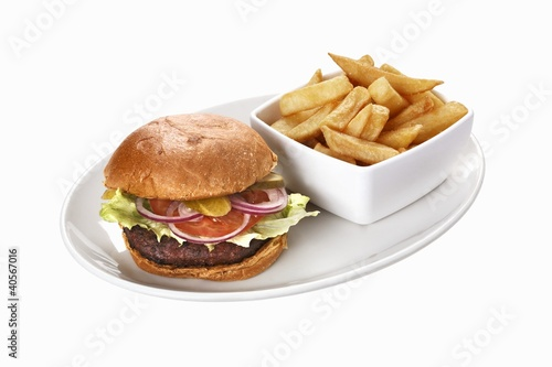 Mushroom burger with chips