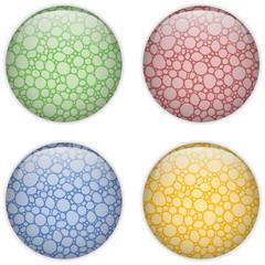 Glass Circle Button Colorful Bubbles