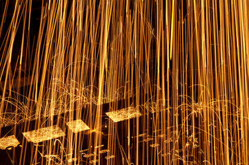 glowing metal sparks motion