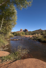 Oak Creek and Cathedral rock in distance near Sedona.