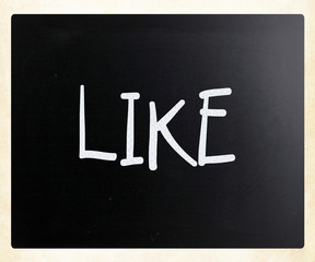 """Like"" handwritten with white chalk on a blackboard"