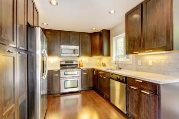 Modern luxury new dark brown and white kitchen.