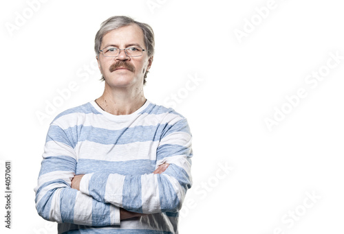 mature caucasian man in glasses isolated on white background