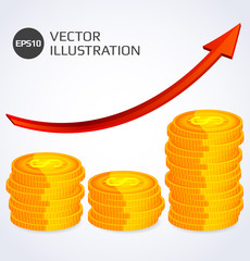 Finance Growth. Abstract illustration with stack of gold coins