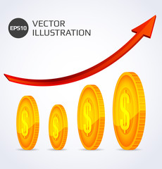 Finance Growth. Abstract illustration with gold coins