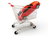 Car shopping, red luxury sports car in a shopping basket.