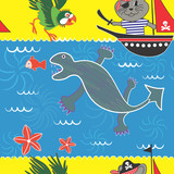Seamless Pattern with a Pirate Tomcat Theme poster