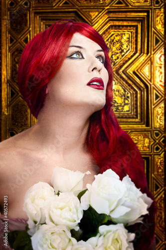 Gothic woman, faith concept. Red hair beautiful girl over  medie