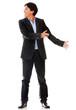 Businessman holding an object