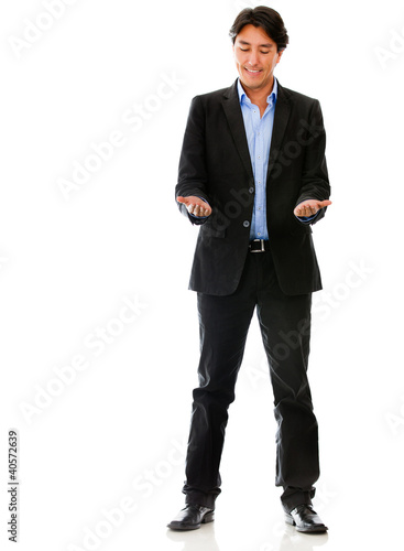 Business man holding something