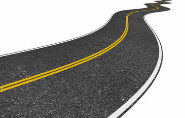 image of a long winding road isolated on white