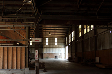 Old and abandoned warehouse factory
