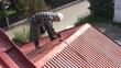 Man paints roof of a private house with safety rope