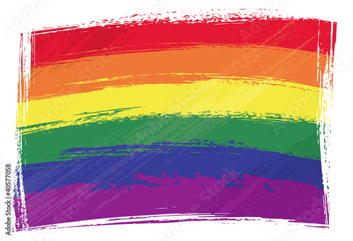 Gay pride flag created in grunge style