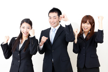 asian business person cheering