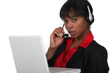black receptionist with headset