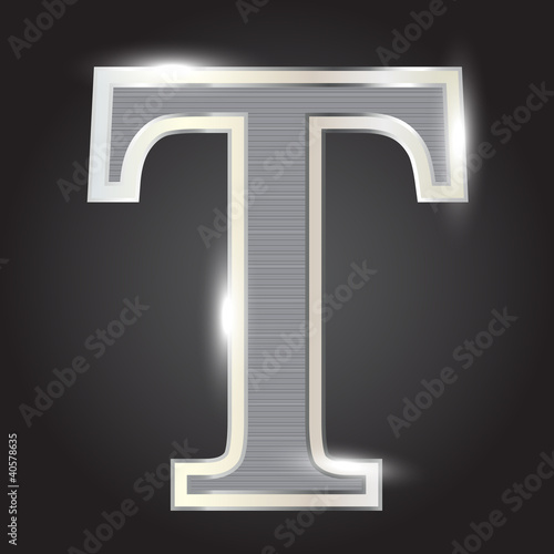 Silver metallic fonts vector illustration