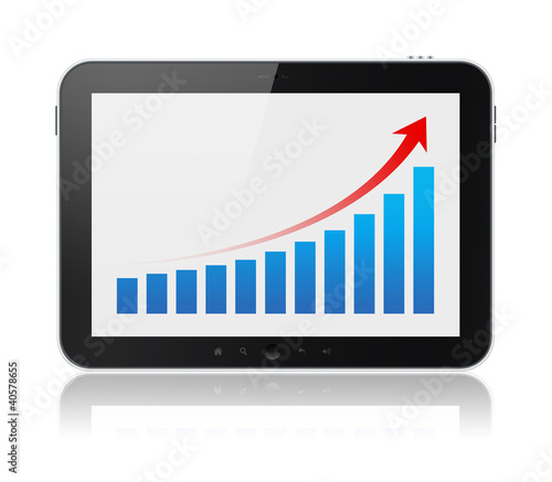 Digital Tablet Showing Success Graph Isolated