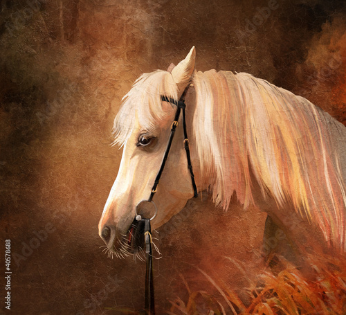 Horse portrait. Simulation of old oil painting style - 40578688
