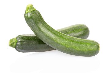 Fresh zucchini on white, clipping path included