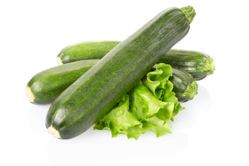 Zucchini or courgette on white, clipping path included