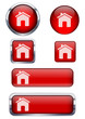 Kırmızı ev ikon seti
