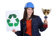 Woman holding trophy and recycle logo