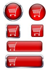 Kırmızı alışveriş sepeti ikon seti