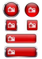 Kırmızı fotoğraf makinesi ikon seti