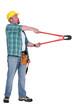 Man using bolt cutter