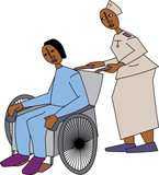 Young black nurse attending to patient in wheelchair
