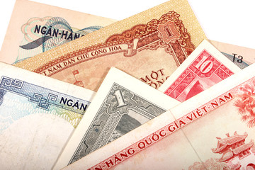 Vietnamese old banknotes on white