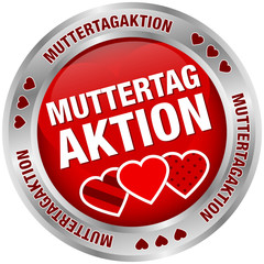Button Muttertagaktion Herzen rot/silber