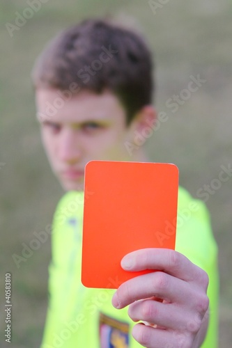 judge with red card