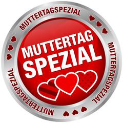 Button Muttertagspezial Herzen rot/silber
