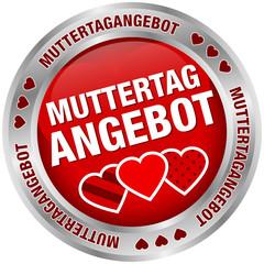 Button Muttertagangebot Herzen rot/silber