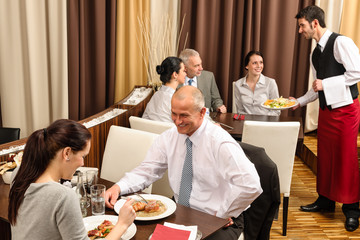 Business lunch restaurant people eating meal