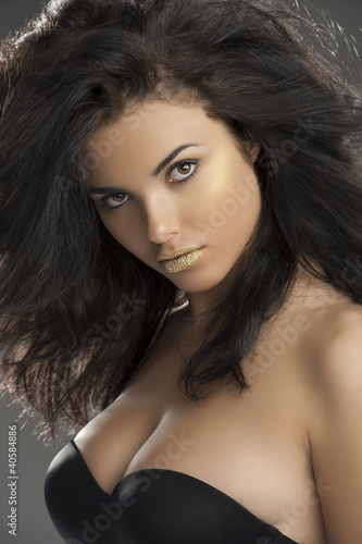 golden glamour girl with black bra