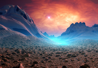 Alien Planet with Mountains
