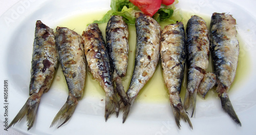 Gourmet fresh sardine fish in olive oil.