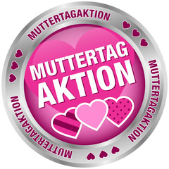 Button Muttertagaktion Herzen pink/silber