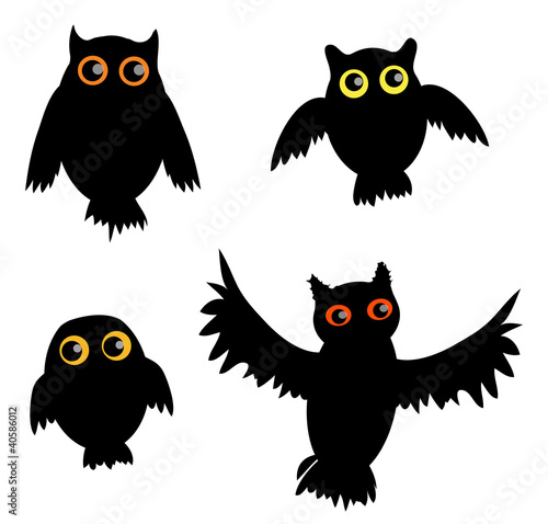 Cartoon Owl siluette(vector version)