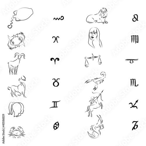 Zodiac signs/Silhouettes isolated on white