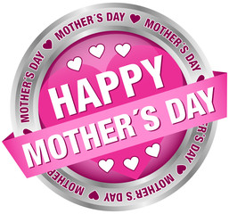 """Button Banner """"Happy Mother´s Day"""" Pink/Silver"""