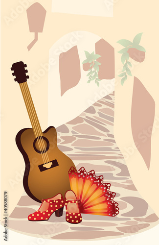 Flamenco. Spanish card. vector illustration